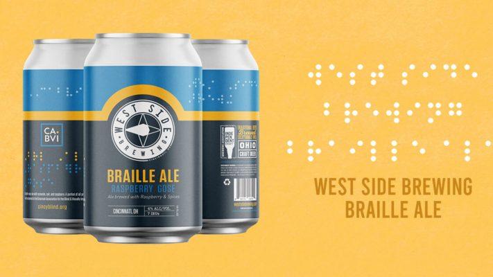 cerveza con braille en la etiqueta